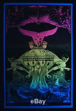 Vintage Satty FULL MOON in ARIES blacklight poster Psychedelic Original Mint NOS