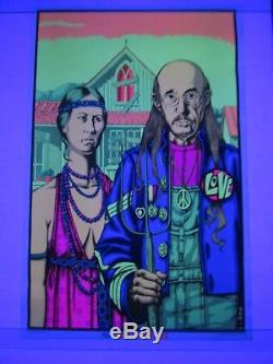 Vintage THE ODD COUPLE Blacklight Poster HIPPIE AMERICAN GOTHIC Very Rare NOS