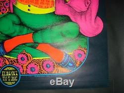 Vintage TIME OUT In TIME blacklight poster PETAGNO frog psychedelic pipe smoking