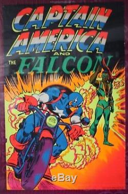 Vintage Third Eye Marvel Captain America & Falcon Blacklight Poster 33 x 21.5