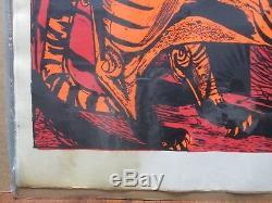 Vintage Tiger Black Light Poster 1970's In#G1827
