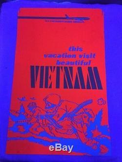 Vintage Visit Vietnam Anti War Blacklight Poster 1970's Original RARE 21x33