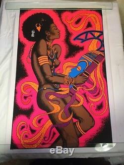 Vintage Voo Doo Dancer Blacklight Poster 1970's 23x35 Nude Afro AA Sales PP144
