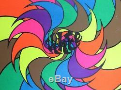 Vintage WHEE Steve Sachs Trippy Pinwheel Psychedelic Blacklight Poster VERY RARE