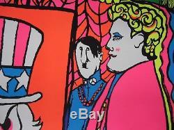 Vintage black light Beatles poster 1969 Dan Shupe
