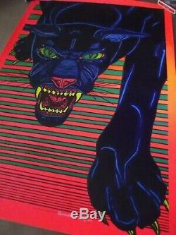 Vintage black light poster blacklight PANTHER Afro large Pro Arts Inc. NOS 1973