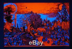 Vintage original Houston blacklight poster GOOD evil Love hate Peace war 1971
