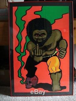 Vintage velvet BLACK TORGA blacklight poster Afro skull middle finger Angry NOS