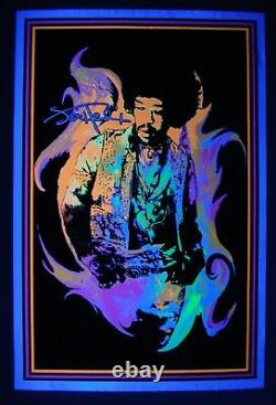 Vintage velvet JIMI HENDRIX blacklight poster FLAME Scorpio flocked Rare NOS