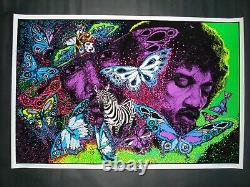 Vintage velvet JIMI HENDRIX blacklight poster LITTLE WINGS Funky flocked NOS