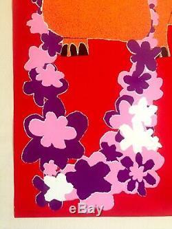 Vtg 1960's Rare MID Century Modern Pop Art Israel Hippo Silkscreen Print Poster