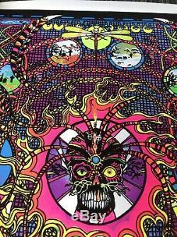 Vtg 1974 SPECTRUM Flocked Blacklight Poster 23x35 Psychedelic Occult RARE 70s