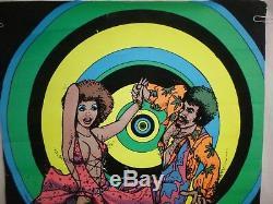 Vtg 1977 Flocked Blacklight Poster Hustle Disco Dancers Feret Pro Arts Inc