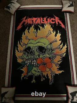 Vtg 1995 RARE Metallica Pushead Heavy Metal Blacklight 34.5x22 Poster USA