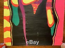 Vtg 60s JIM MORRISON The Doors PSYCHEDELIC Black Light POSTER 34 X 23 blacklight