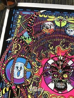Vtg 70s SPECTRUM Flocked Blacklight Trippy Poster 23x35 Psychedelic Occult C