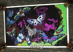 Vtg 80s JIMI HENDRIX Flocked Blacklight Poster LITTLE WINGS 1981 NEW