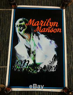 Vtg 90s Marilyn Manson Flocked Blacklight Poster The Bride 1996 Scorpio Posters