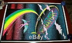 Vtg Led Zeppelin Stairway To Heaven Black Light Poster Velvet Flocked 35 X 23