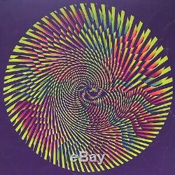 Vtg Original 1960s Hypno Mandala Magic Circle Black Light Poster Psychedelic J1A