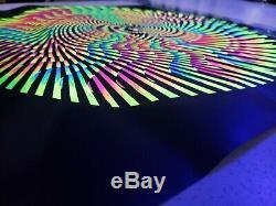 Vtg Original 1969 Hypno-Mandala Silk Screen Black Light Poster Psychedelic NOS
