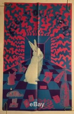 White Rabbit Keep Your Head Vintage Blacklight Poster Pin-up Psychedelic Print