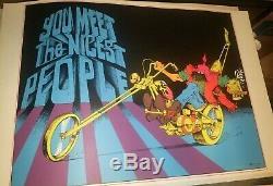 You Meet The Nicest People Motorcycle 1970 Vintage Nos Blacklight Poster N/m